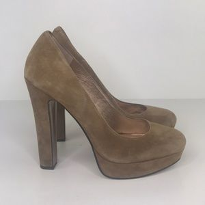 BCBGMaxAzria Tan Leather Suede Jodie Pumps Size 10